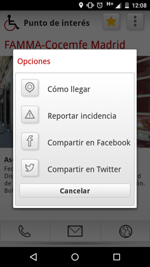 Opciones de POI para usuarios registrados